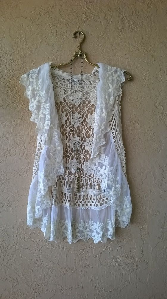 Anthropologie Lace and crochet romantic gypsy boho vest for fall layer with boots