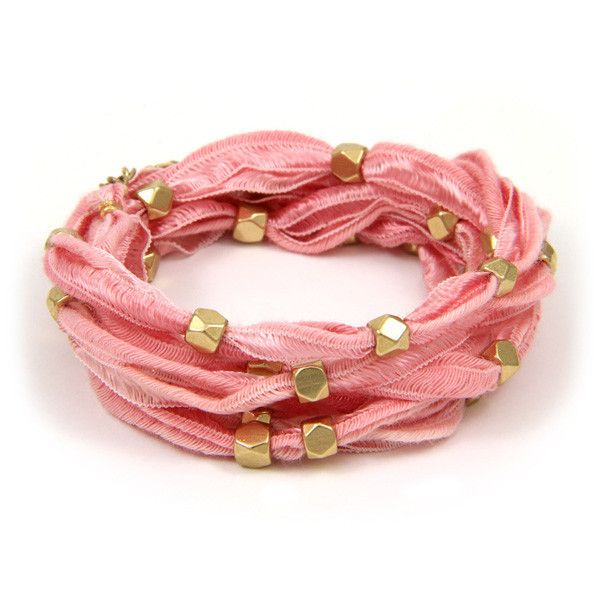 Gold Beaded Pink Vintage Ribbon 6x Wrap