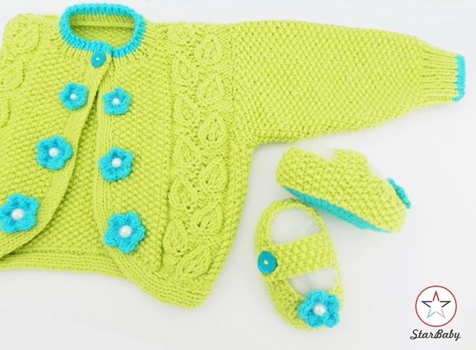 Baby Girl Bolero and matching slipper shoes.  Designer baby knitwear by ©StarBaby at www.etsy.com/shop/starbabyknitwear