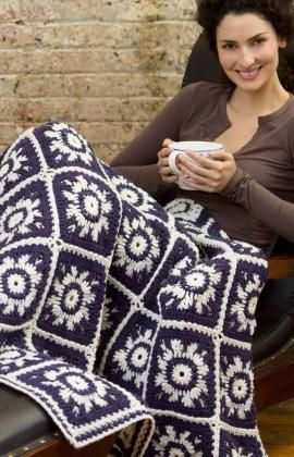 Winter Skies Throw Free Crochet Pattern from Red Heart Yarns