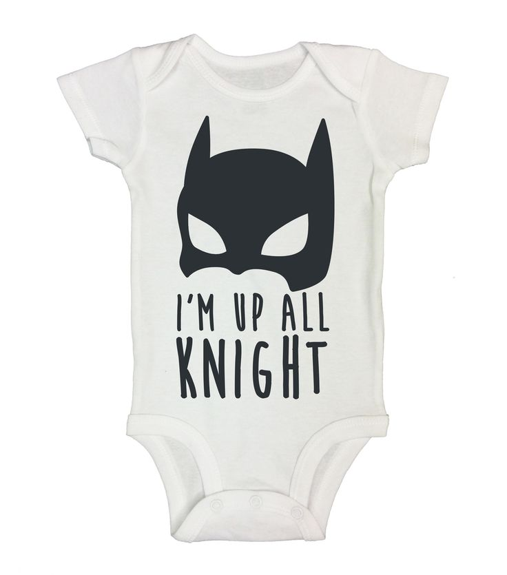 "Cute Batman Inspired Baby Onesie, ""I'm Up All Knight"" The Dark Knight Batman…"