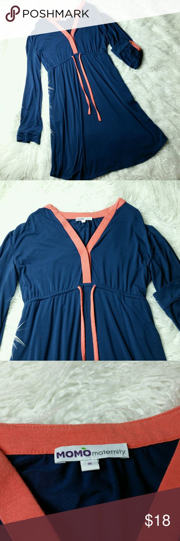 """💕 Momo Maternity Dress Sz Small Momo Maternity cute blue/orange dress  Size Small, stretchy, armpit to armpit measures 18"""", lenght 34.5"""" Gently used in great condition no flaws Momo Maternity Dresses"""