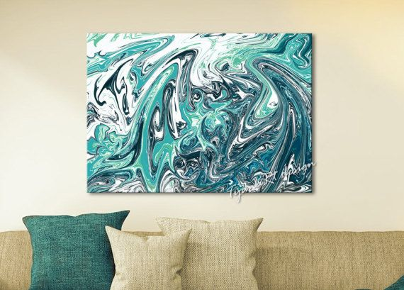 Abstract waves Abstract painting Contemporary Wall art by TyanaRt