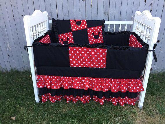 Minnie Mouse Crib Set Baby Bedding Crib Set por SewSweetBabyDesigns