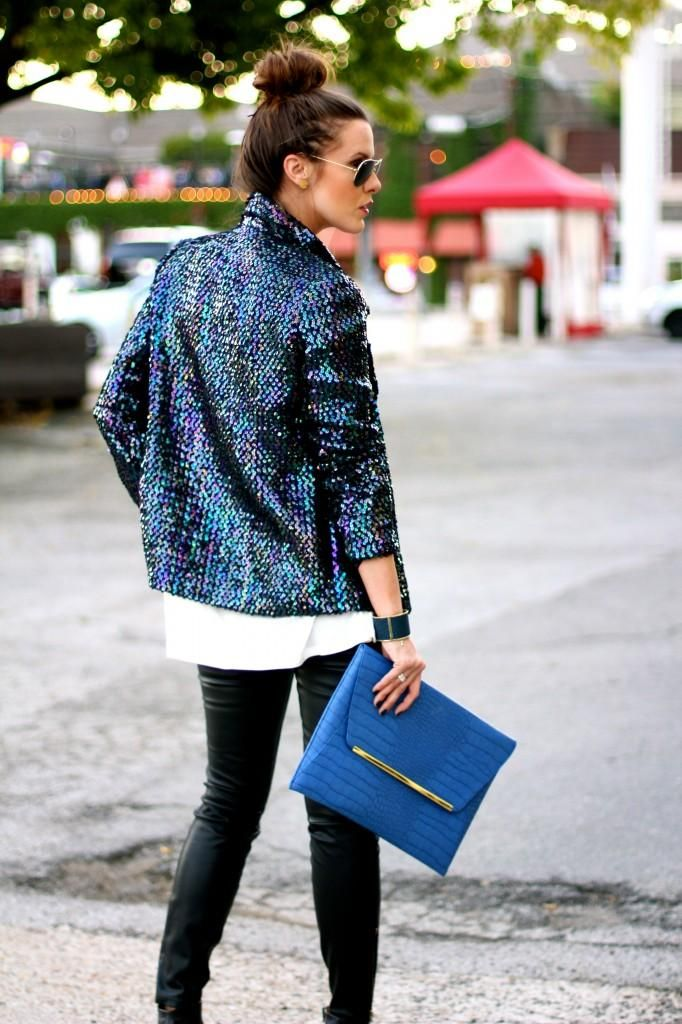 Don't let a sequin jacket scare you! Pair it with skinny jeans and heels for a simple, yet cheerful holiday look.