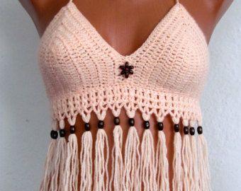 Sexy  Crochet Bra, crochet halter tank, Crochet Bustier halter top ,Summer Festival ,Top Fringes Bikini Top, Swimwear, Swimsuit, Summer Wear