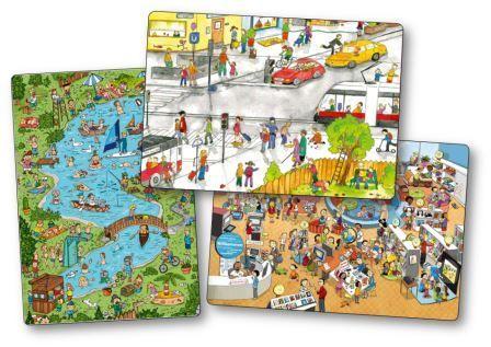 Ce sont de magnifiques illustrations qui fourmillent de détails et qui sont tout simplement parfaites pour faire parler les petits ! wimmelbild online