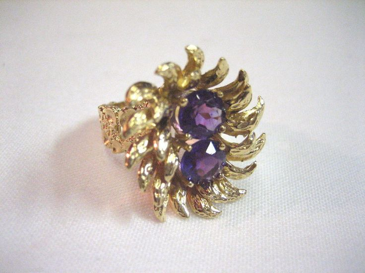 VINTAGE 14K YELLOW GOLD & PURPLE AMETHYST GEMSTONE HANDCRAFTED RING SZ 6.75 #158