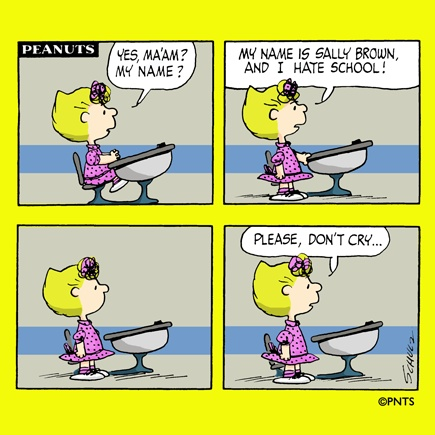 It's Monday and Sally is back at school.