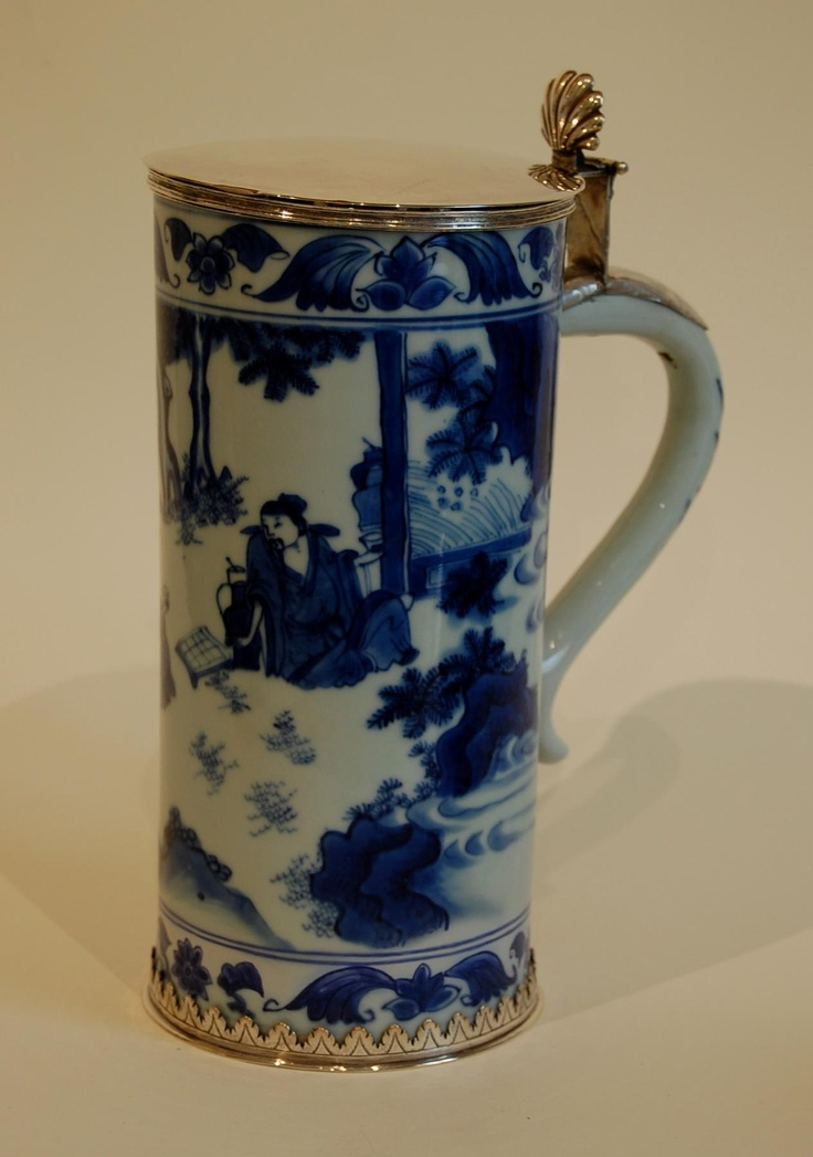 A flemish silver-mounted chinese porcelain jug,17th century.
