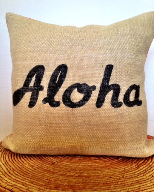 """Aloha- Tropical Modern Decorative Pillow Cover 18"""" x 18"""" Burlap and Authentic Hawaiian Print in Coral. $58.00, via Etsy."""