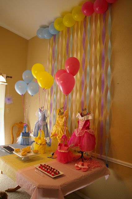 Overall party colors - probably will go with pink for arial and sleeping beauty, blue for cinderella and yellow for snow white adding in the red and blue at the snow white theme table
