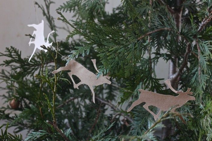 The reindeer garland made with a template from lilla s