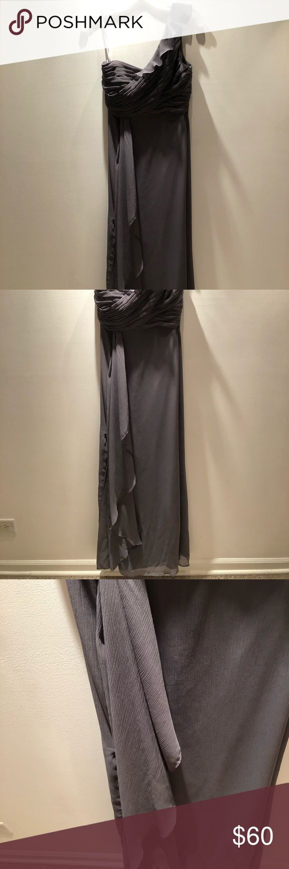 """Grey Bridesmaid Dress Worn ONCE. Breathable, light fabric that made it easy for dancing. Reached my ankles & I was 5'4"""". Flowy & elegant. Made in China. David's Bridal Dresses Wedding"""