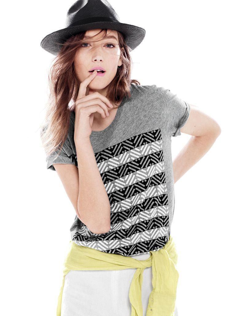 J.Crew Panama hat and drapey surf stripe tee. To preorder call 800 261 7422 or email erica@jcrew.com.