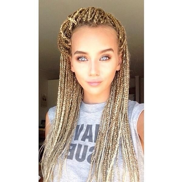 blonde white girls box braids - Google Search