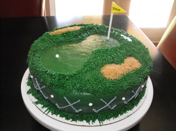 Golf Course Cake - golf clubs on the sides