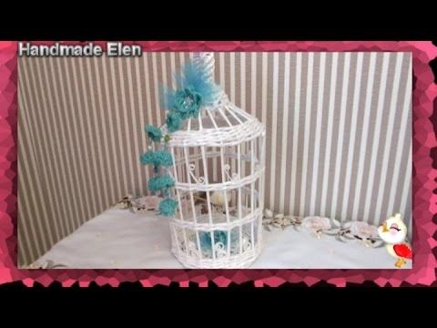 DIY weaving newspapers tutorial how to make a decorative cage tejiendo periódicos - YouTube