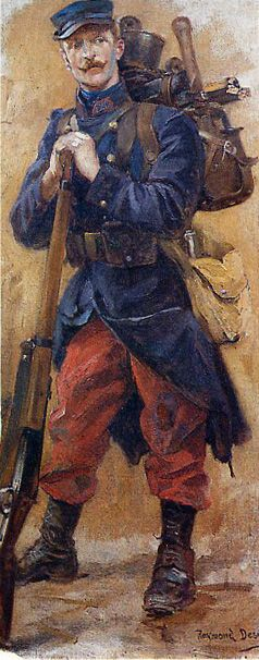 French WW1.  This uniform was abandoned in place of a blue-gray one with helmet by the second year of the war.