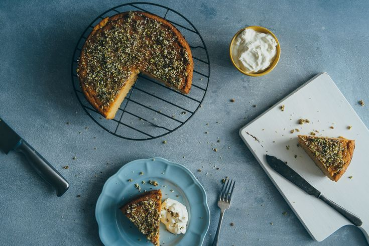 serving up orange and almond cake
