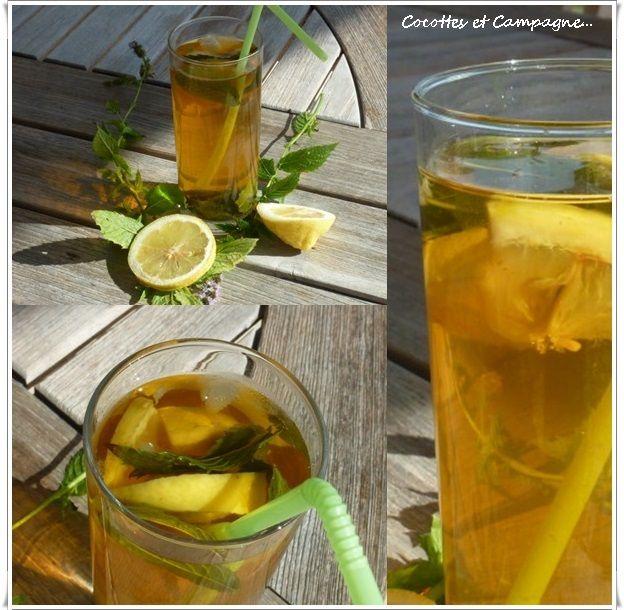 """Que diriez vous d'une boisson rafraichissante """"home-made"""" avec la menthe bien fraîche du jardin ??? Il fait encore très chaud aujourd'hui, alors un grand verre de thé glacé sera le bienvenu !! Pas de difficulté pour cette boisson, mis à part d'avoir de..."""