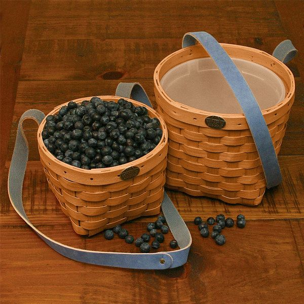 Pick your own fruit and vegetable basket regular size with insert and long leather straps