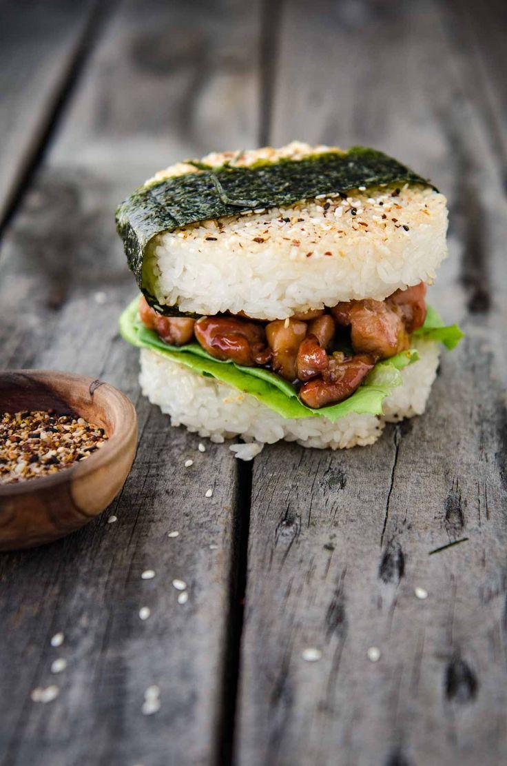 Chicken Teriyaki Rice Burger | Chew Town Food Blog