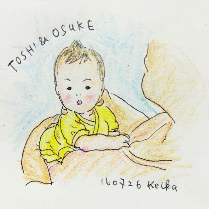 【Around midnight】husband & son. #baby #drawing #illustration #おえかき #イラスト #新米ママ #2ヶ月 #daddy #新米パパ
