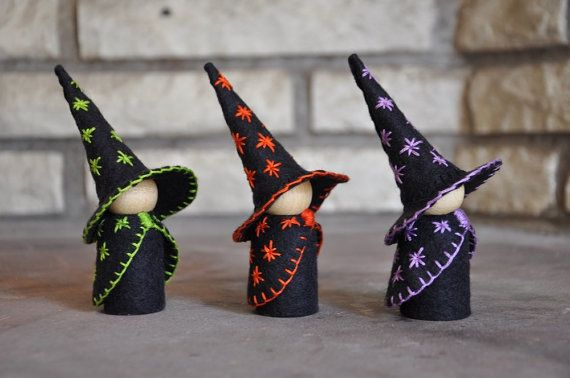 The Three Little Wooden and Wool Felt Witches are a wonderful toy and would be the perfect addition to an autumn nature table and for your
