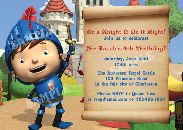 Mike the Knight Birthday DIY PRINTABLE Party INVITATION 4x6 or – Knight Birthday Invitations