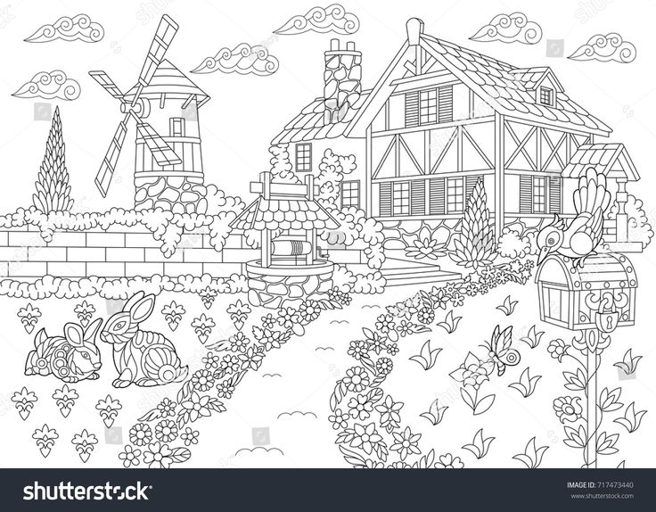 stock-vector-coloring-page-of-rural-landscape-farm-house-windmill-water-well-mail-box-rabbits-and-717473440.jpg (1500×1171)