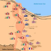 Second Battle of El Alamein, Deployment of Forces on October 23rd, 1942. Ruweisat Ridge is a geographical feature in the Western Egyptian desert, mid way between the Mediterranean Sea and the Qattara Depression. It was a prominent part of the defence line in the First and Second Battle of El Alamein. During the Second Battle of El Alamein, the 4th Indian Infantry Division was given the task of defending the feature. Map by Noclador http://commons.wikimedia.org/wiki/User:Noclador