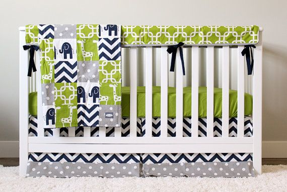 Custom Baby Bedding - Navy Elephant, Green Giraffe and Grey Baby Boy Crib Bedding