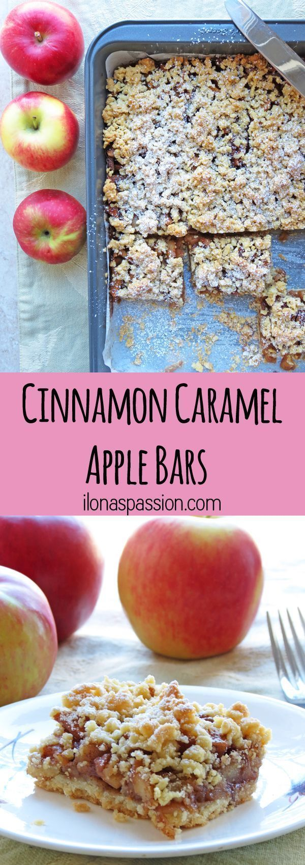 Crunchy Cinnamon Caramel Apple Bars by http://ilonaspassion.com