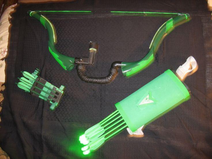 My kid has the best grandpa, all homemade green arrow gear for Halloween!