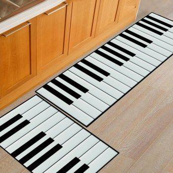 Kitchen Floor Mat Super Soft Piano Keys Pattern Washable Door Mat - BLACK WHITE 50X80CM