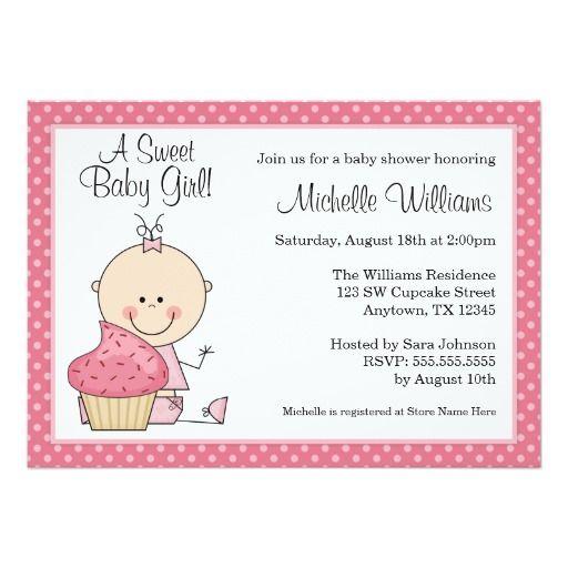 "Sweet Cupcake Pink Polka Dot Girl Baby Shower 5"" X 7"" Invitation Card"
