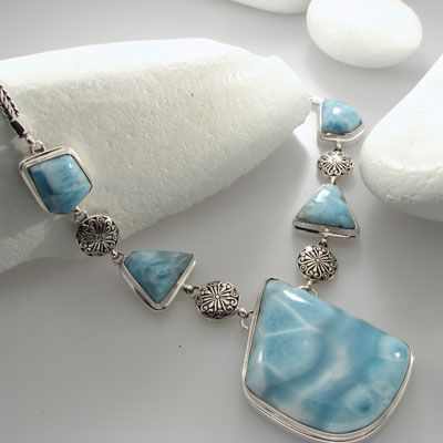 Awesome larimar sterling silver necklace