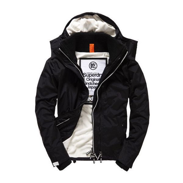 Superdry Pop Zip Hooded Arctic Windcheater Jacket ($100) ❤ liked on Polyvore featuring men's fashion, men's clothing, men's outerwear, men's jackets, black, mens hooded windbreaker, mens hooded jackets, mens windbreaker and mens short sleeve jacket
