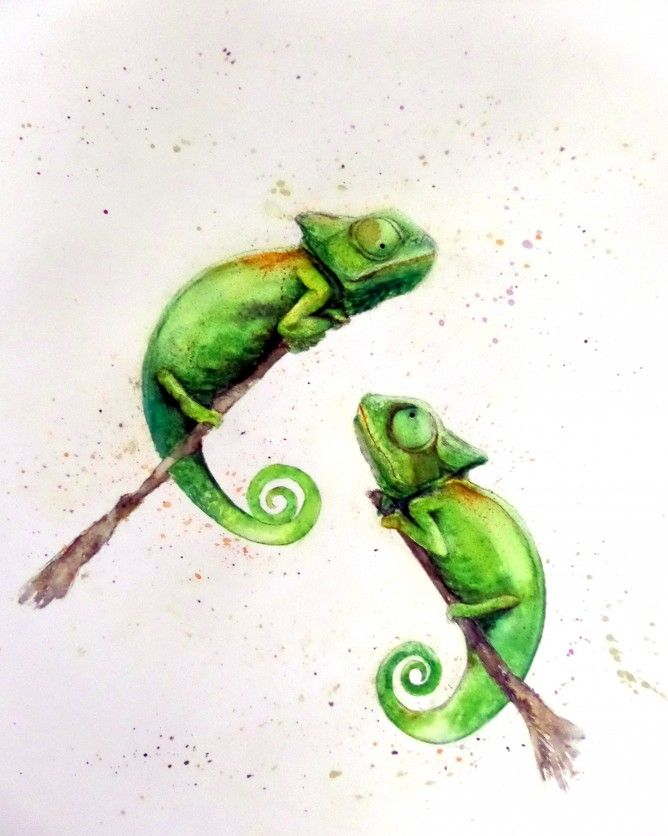 Chameleon watercolour - sold - more at nancyantoniart.com