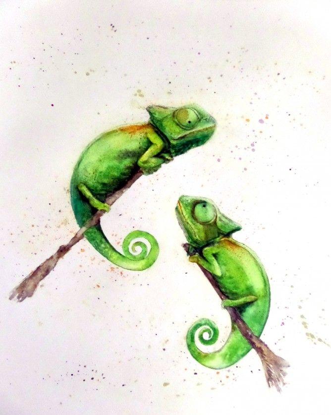 Chameleon watercolour - sold - more at nancyantoniart.com