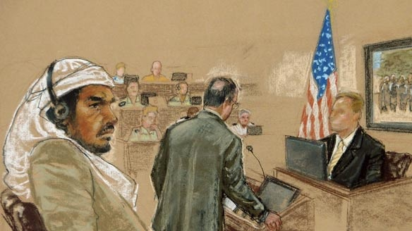 In this courtroom sketch, defendant Salim Hamdan watches as FBI agent Craig Donnachie testifies Thursday about his interrogations of Hamdan before the military tribunal at the U.S. naval base in Guantanamo Bay, Cuba.