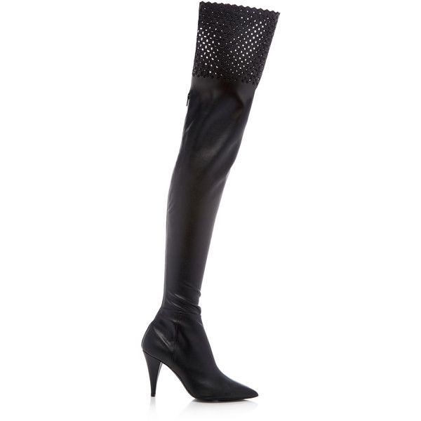 Thigh High Stretch Boot | Moda Operandi (€1.050) ❤ liked on Polyvore featuring shoes, boots, cut out thigh high boots, stretch boots, cutout boots, leather cut out boots and leather thigh high boots