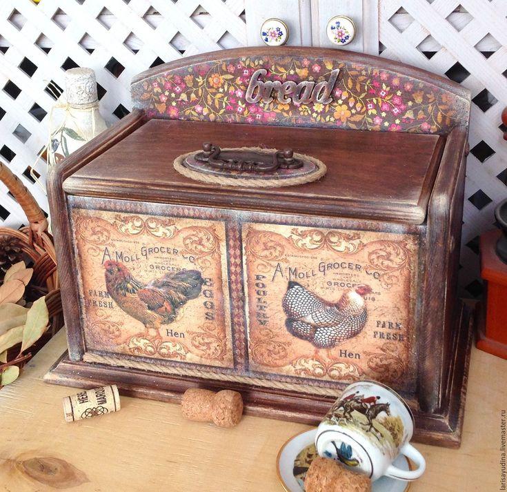 Купить Хлебница Винтажная Деревенская - комбинированный, коричневый, ситец ситцевый, петушок курочка