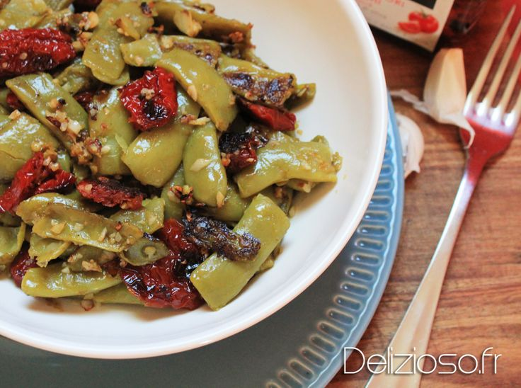 Haricots plats au tomates séchées