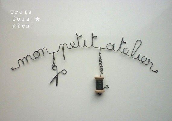 """Déco murale fil de fer """"Mon petit atelier"""""""