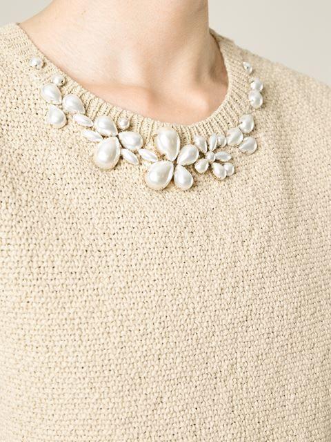 Beige embellished collar sweater from Ermanno Scervino.