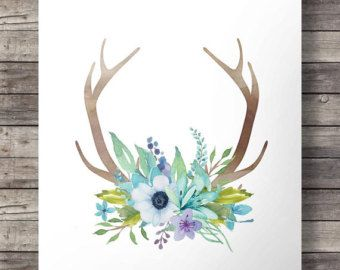 Watercolor Antlers and flowers print Printable door SouthPacific