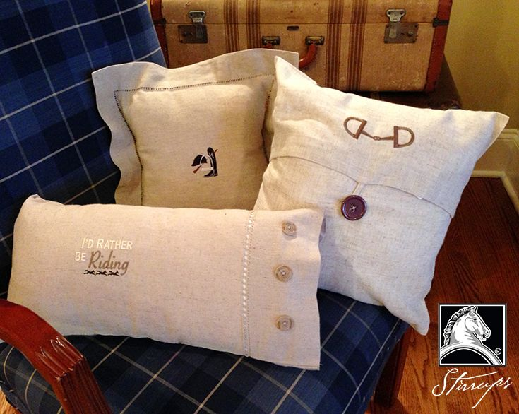 Our new line of Equestrian throw pillows will be in your tack stores at the end of August. Request these and other Stirrups designs if they're not available at your local tack store. www.stirrupsclothing.com