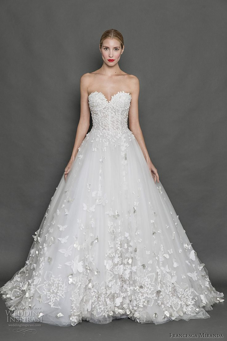FRANCESCA MIRANDA fall 2017 bridal strapless sweetheart neckline busiter heavily embelished bodice romantic princess a  line wedding dress open back sweep train (alice) mv http://www.weddinginspirasi.com/2016/10/10/anne-barge-fall-2017-wedding-dresses/